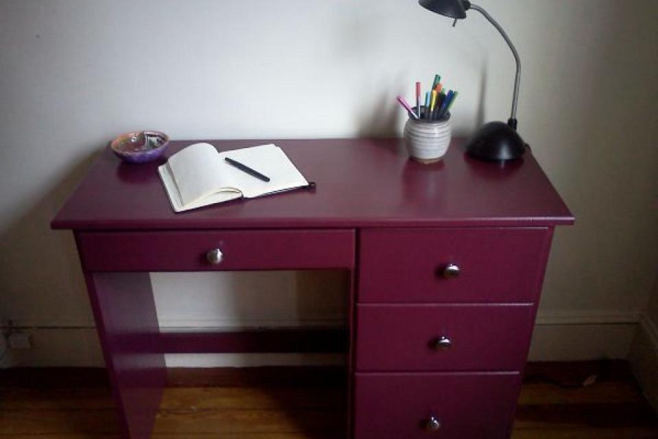 Petite Wooden Desk, Deep Rose Color Large Photo