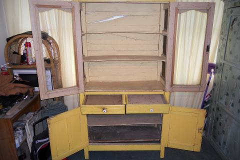 Antique Yellow Kitchen Cabinet Photo