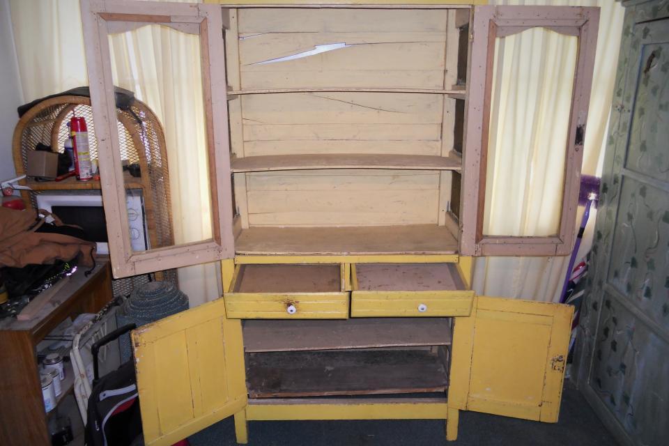Antique Yellow Kitchen Cabinet Large Photo
