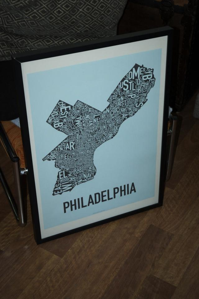 Framed Philadelphia Map - Graphic Print Photo