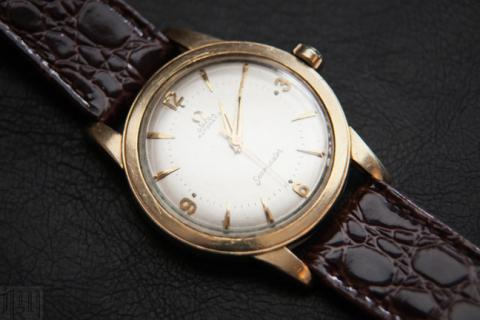 Vintage 50s Omega Seamaster bumper automatic watch,14K gold filled case and back Photo