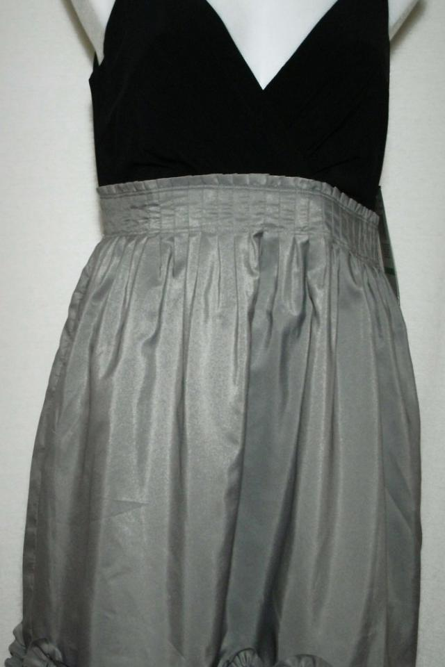 NIGHT WAY Gray & Black Detailed Ruffle Bottom Pleated Waist Dress sz 8 NWT Photo