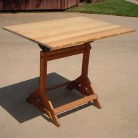 DRAFTING TABLE VINTAGE EXCELLENT CAST IRON Photo