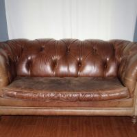 Vintage Cognac Leather Chesterfield Sofa Photo