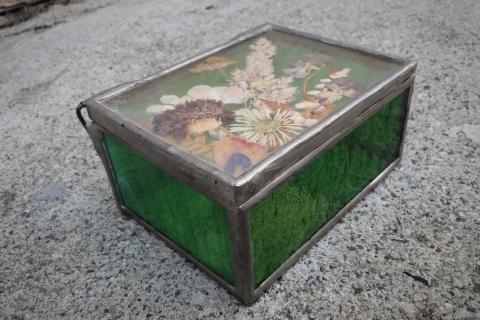 pressed flower glass trinket box Photo