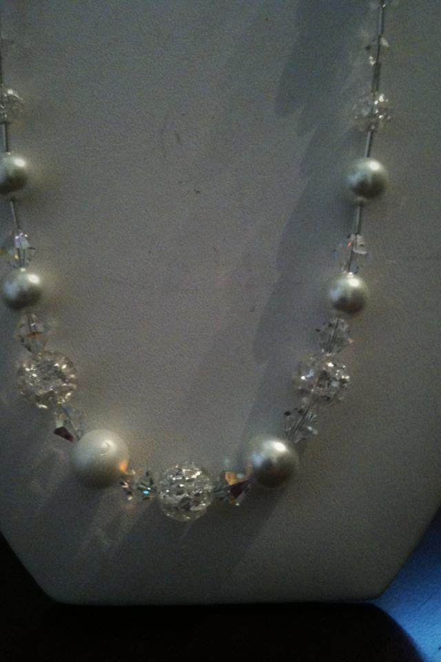 Pearl and crystal stirling silver neckla Photo