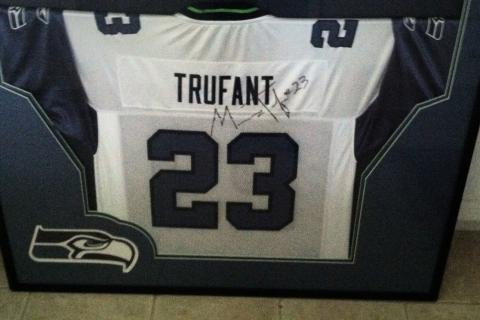 Signed Rookie Trufant Jersey Photo