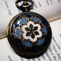 Brass Cloisonne Lid Round Necklace Quartz Pocket Watch Photo