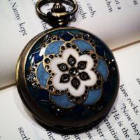 Brass Cloisonne Lid Round Necklace Quartz Pocket Watch Photo