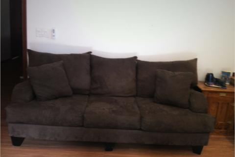 Dark green suede couch Photo