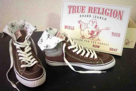*NICE* MENS TRUE RELIGION BROWN DESIGN SHOES SZ 10.5 Photo