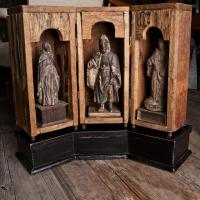 Continental Carved Saint Statues with Pedestal  Photo