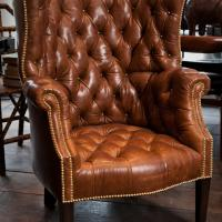 Leather Barrel Back Chair Photo