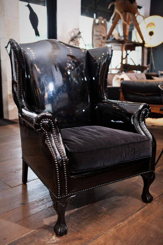 Black Patent Leather Wing Back Chair Large Photo