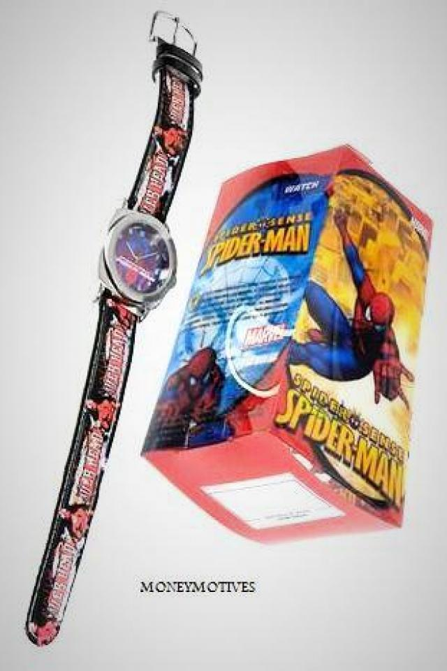 NEW MENS SPIDERMAN SUPERHERO WATCH LEATHER BAND MAX LENGTH 7.5 INCH SILVER $30 Photo