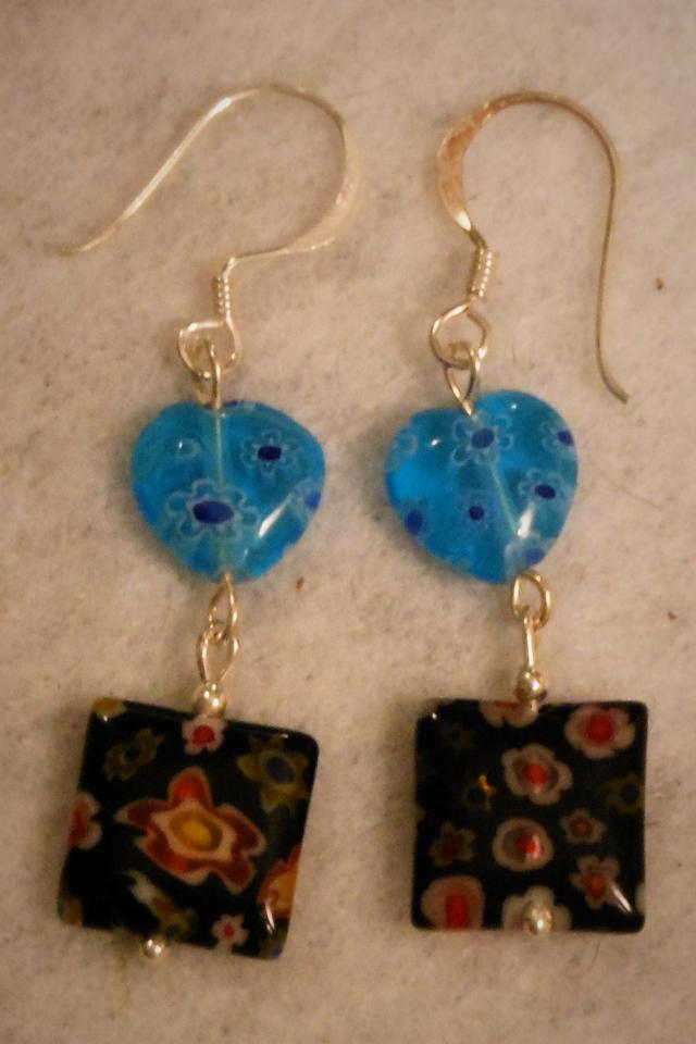 GLASS EARRINGS HEARTS FLOWERS BLUE STERLING SILVER 925 Photo