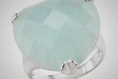 NEW WOMENS HEART QUARTZ RING STERLING SILVER GREEN BLUE SIZE 12 $210 Photo