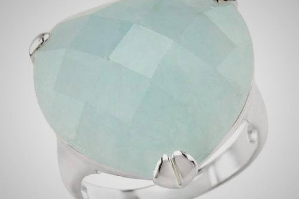 NEW WOMENS HEART QUARTZ RING STERLING SILVER GREEN BLUE SIZE 12 $210 Large Photo