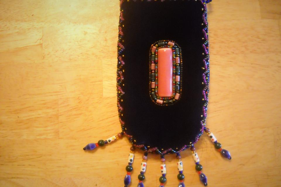 Uniquely Embroidered Cell phone bag (with handle)
