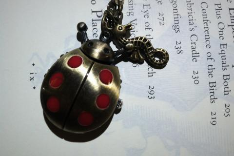 ladybug Pocket Watch locket Necklace with a little hippocampi Photo