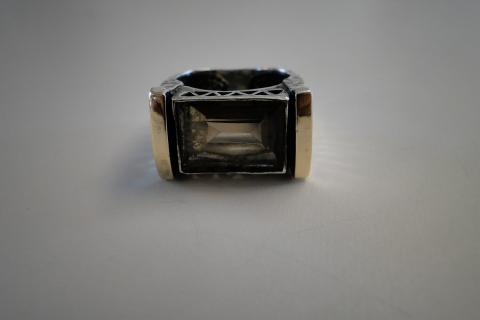 Smoke Topaz Silver and Tip Gold Ring Photo