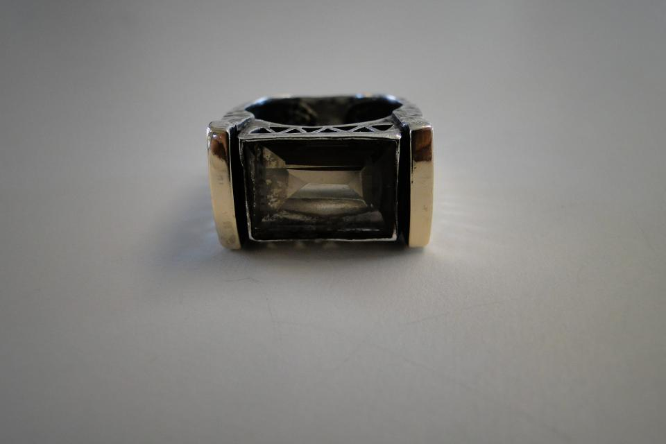 Smoke Topaz Silver and Tip Gold Ring Large Photo
