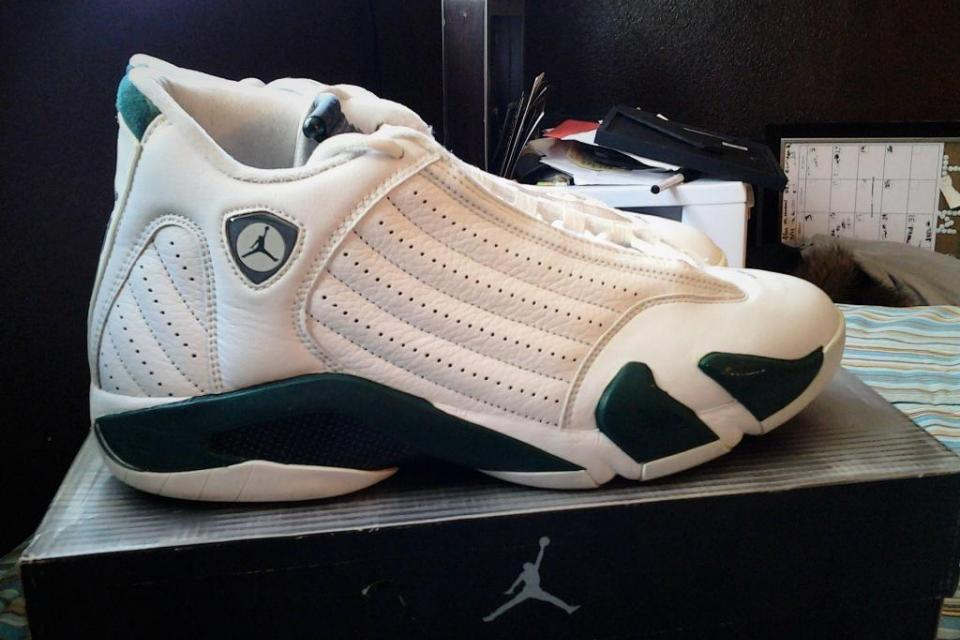 Air Jordan 14 Retro White Forest Green Large Photo