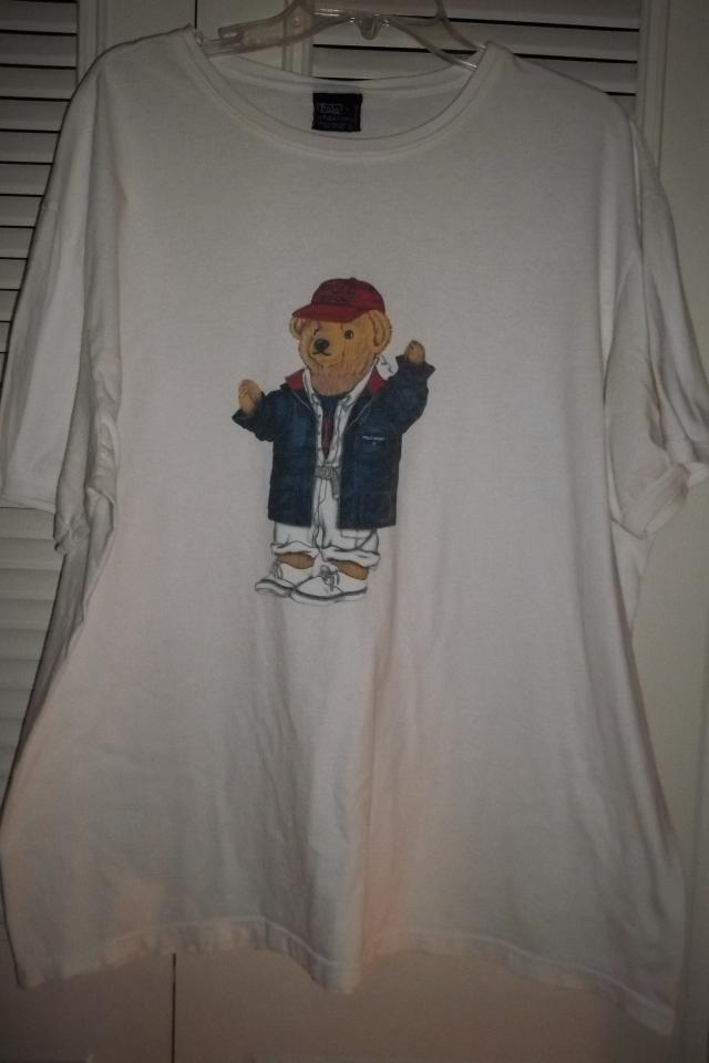 VINTAGE POLO RALPH LAUREN TEDDY BEAR T-SHIRT USA STADIUM 92' BLUE SIZE XL FAST SHIPPING!!! Large Photo