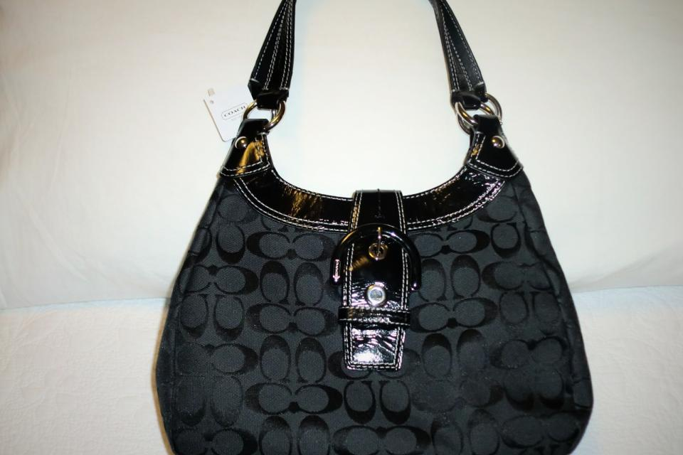 COACH SOHO SIGNATURE HOBO HANDBAG/BLACK Large Photo