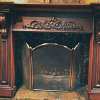 Hand Carved Tiger Oak Fireplace Mantel Photo