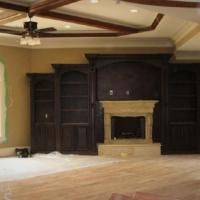 Tiger Oak Wall Unit and Fireplace Photo