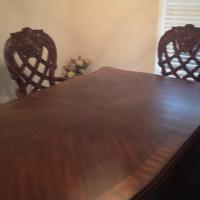 Mahogany Handcarved Dining room table and chairs Photo