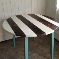 Striped Distressed dining table turquiose brown white Photo