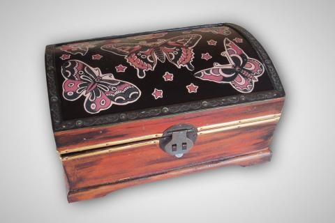 Vintage upcycled wooden tattoo style Butterfly BoxFrom SacredArtDesignz Photo