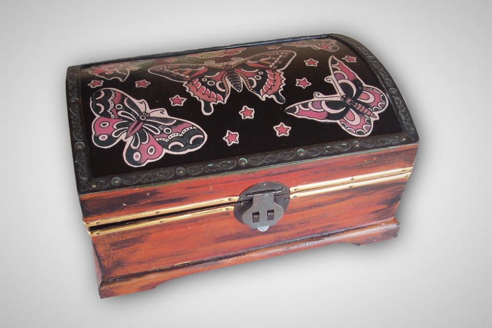 Vintage upcycled wooden tattoo style Butterfly BoxFrom SacredArtDesignz Large Photo