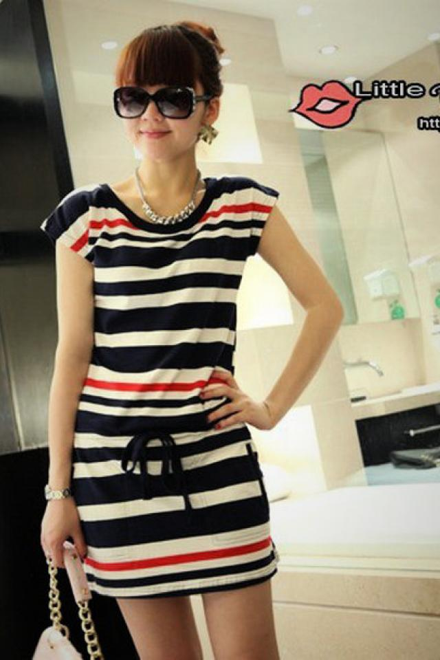 Women's Round Neck Navy Strip Slim Short Sleeve T-shirt Dress Skirt  Photo