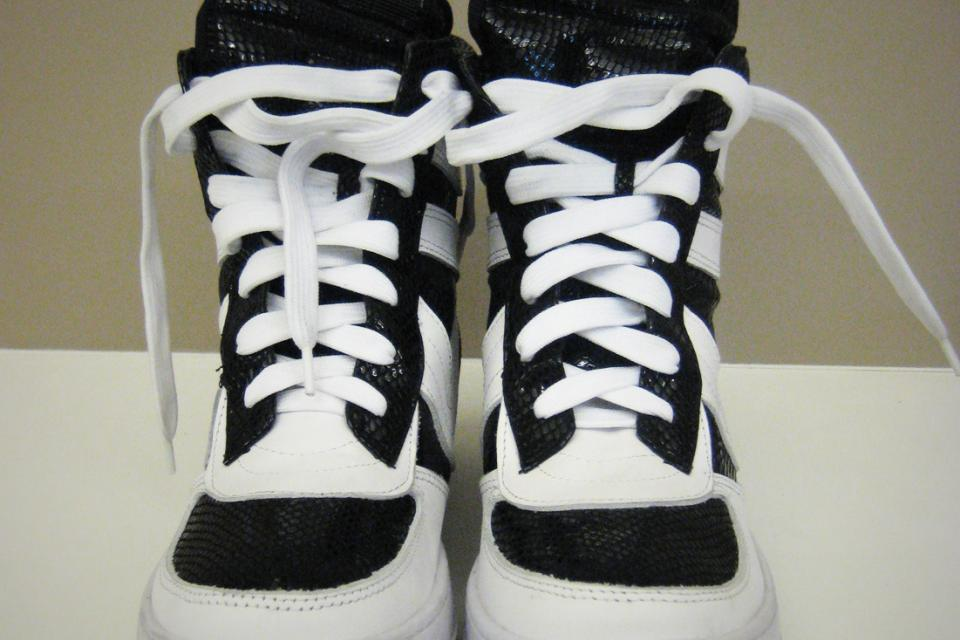 Rick Owens Women's Sneakers - Patent Python and White Leather Large Photo