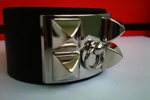 Hermes (inspired) Collier de Chien Black Leather & Stainless  Photo