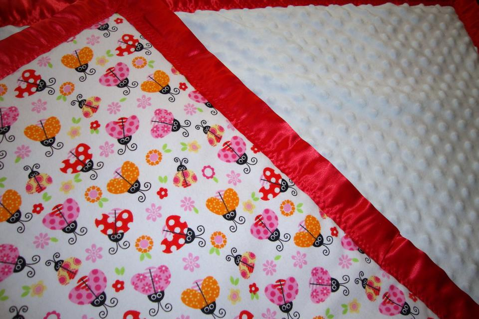 Minky Baby Blanket ULTRA-SOFT with Cute Lady Bugs 3-Layers Thick and a Beautiful Satin Tr