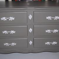 Gray Refinished French Dresser, Long 6 Drawers Photo