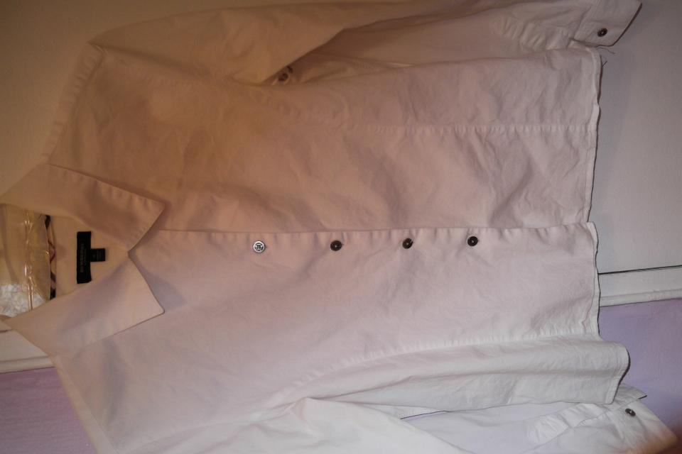 womens BURBERRY white button down shirt Large Photo