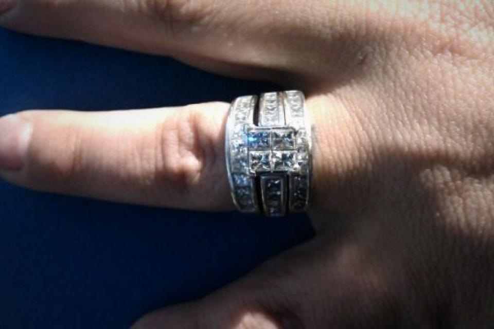 3 piece engagement/wedding set..14K White Gold Large Photo
