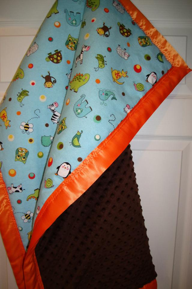 Minky Baby Blanket with Cute Baby Animals, Oversize & Ultra Soft with a Satin Trim Photo