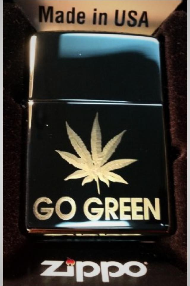 Zippo lighter go green pot weed leaf Photo