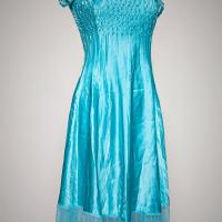 Kamarov Pleated Charmeuse Dress - Baby Blue Photo
