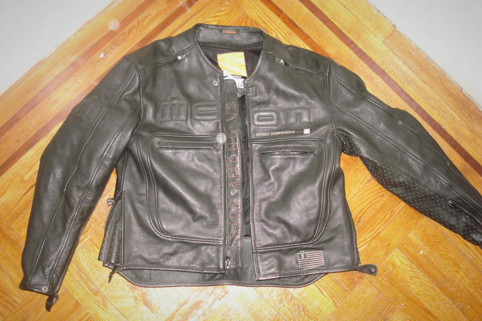 Black Leather Motorcycle Jacket (ICON) Large Photo
