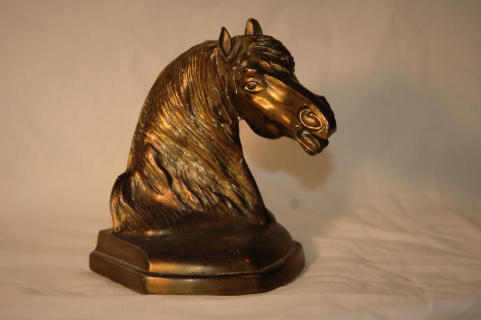 Vintage Brass Horse Bookend - Zenyatta Look alike.  Large Photo