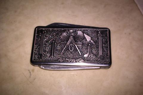 FREEMASON Stainless Steel Money Clip w/2 RARE FEATURES!! BEAUTIFUL!! Photo