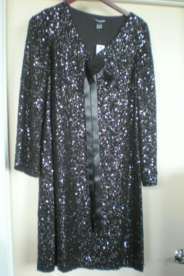 NEW $598 ELLEN TRACY Black Dress SEQUINS Sz 4 NWT Photo