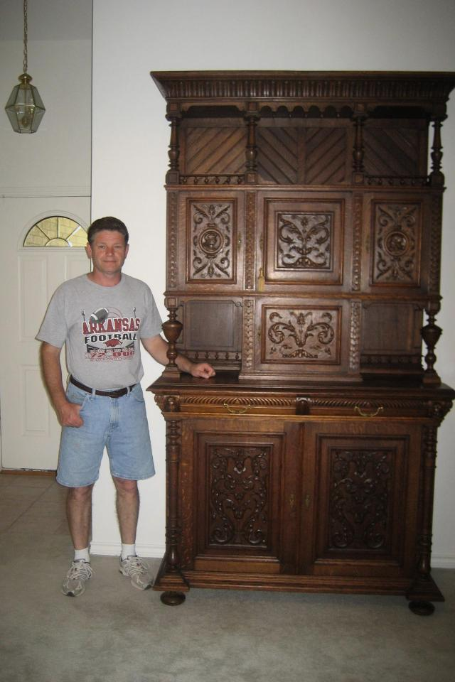 Highly Carved Hunt Cabinet from Belgium Photo